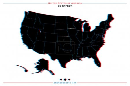 stereoscopic effect United States of America isolated map. vector USA territory political map. geographic banner template. three-dimensional illusion US maps.
