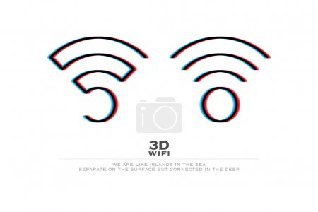 two 3d illusion wireless icons and wifi logo. vector radio wave stereoscopic symbol. free internet connection zone sign. anaglyph technology concept logotype. three-dimensional distortion wi-fi