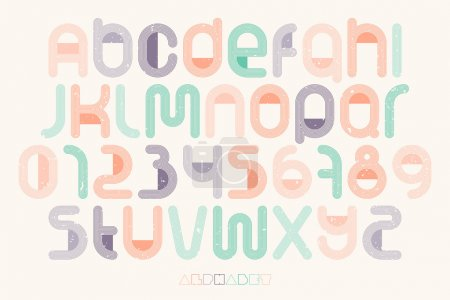 set of thin line style alphabet letters and numbers over paper texture. vector font type design. vintage, bold lettering icons. stylized logo text typesetting. colorful typography template