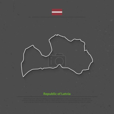 Republic of Latvia isolated map and official flag ...