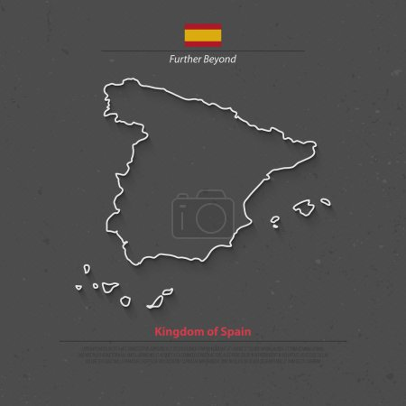 Illustration for Kingdom of Spain isolated map and official flag icons. vector Spanish political map thin line icon over grunge background. EU geographic banner template. travel and business concept maps - Royalty Free Image