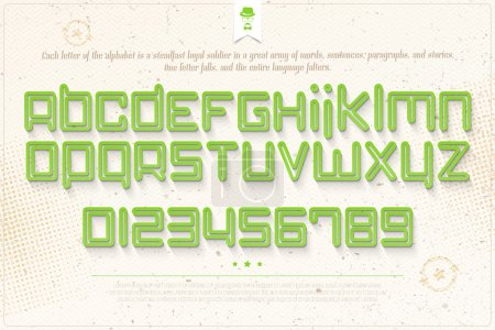 set of green outline alphabet letters and numbers over grunge paper texture. vector font type design. modern, bold lettering icons. futuristic logo text typesetting. empty circuit typeface template