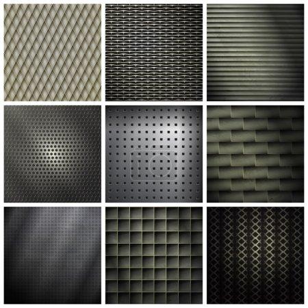 Illustration pour Ensemble de milieux métalliques et industriels. texture vectorielle - image libre de droit