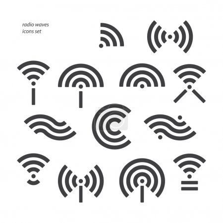 Set of different wireless and wifi symbols. vector...