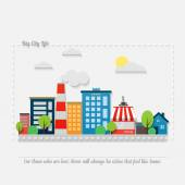 cartoon style cityscape with modern architecture office buildings hotel market park coffee house and asphalt road vector colorful illustration big city life banner concept