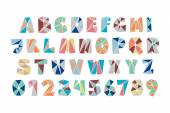 Set of isolated fractal style polygonal alphabet letters and numbers vector diamond font type icons colorful mosaic lettering typeface