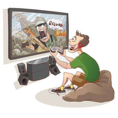 Gamer Boy spielen Ego-Shooter-Videospiel