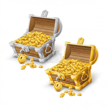 Opened antique gold and silver treasure chest