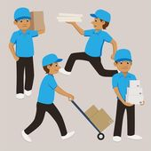 cartoon delivery man in blue uniform and cap