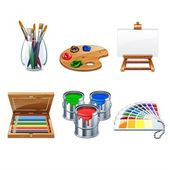 highly detailed artists supplies icons