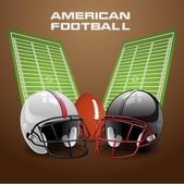 Vector illustration of american football helmet and ball on a field Vector EPS 10 EPS file contains transparencies and gradient mesh in dropshadows