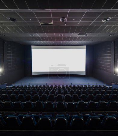 Interior of the modern theater. Front picture on a blank white s