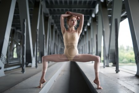 Photo for Full-length portrait of young and graceful ballerina in a flesh-colored bathing suit, which is in hareografichnoy pose, amid the urban landscape of the bridge - Royalty Free Image