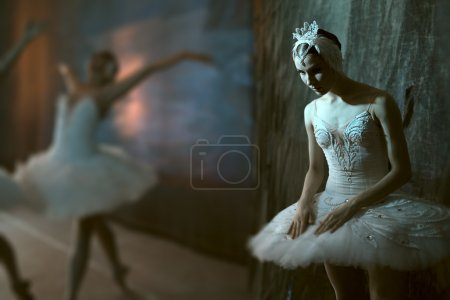 Ballerina standing backstage before going on stage