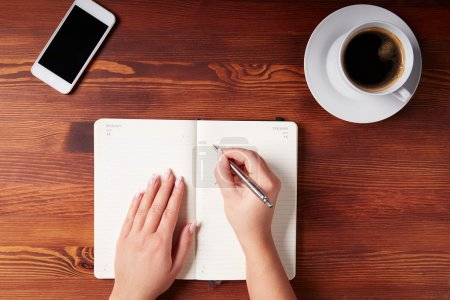 Woman hand writing in a diary