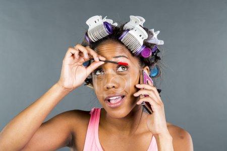 Black Model Applying Makeup