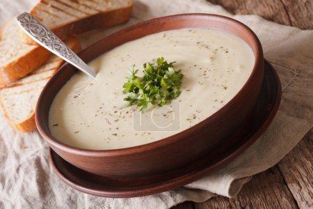 Dietary cauliflower soup and toast close up. horizontal