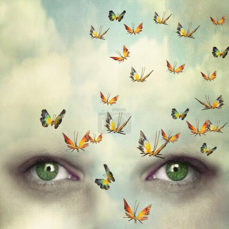 Photo for Two eyes with the sky and so many butterflies flying on the forehead - Royalty Free Image