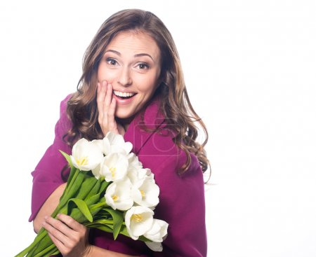 Photo for Young beautiful woman with bouquet of tulip flowers, portrait in studio - Royalty Free Image