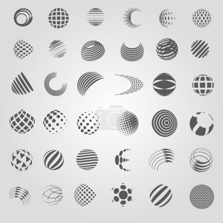 Illustration for Sphere Icons Set - Isolated On Gray Background - Vector Illustration, Graphic Design Editable For Your Design, Flat Icons - Royalty Free Image