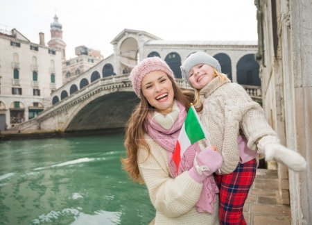 Mother and daughter with Italian