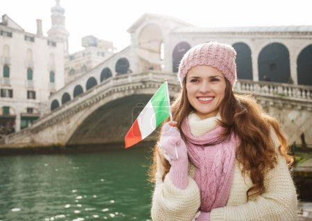 Happy woman tourist with Italian