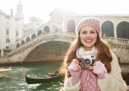 Young woman tourist with retro