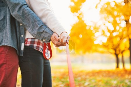 Young couple holding leash together in autumn park