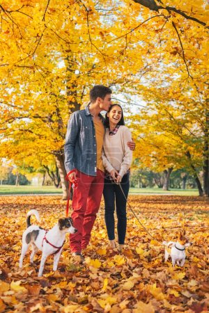 Romantic young couple walking outdoors in autumn park with dogs