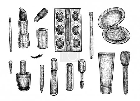 Collection of make up treatment objects