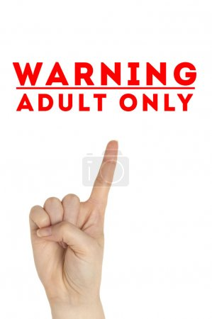 Photo for Open hand raised, Adults Only sign painted, multi purpose concept - isolated on white background - Royalty Free Image