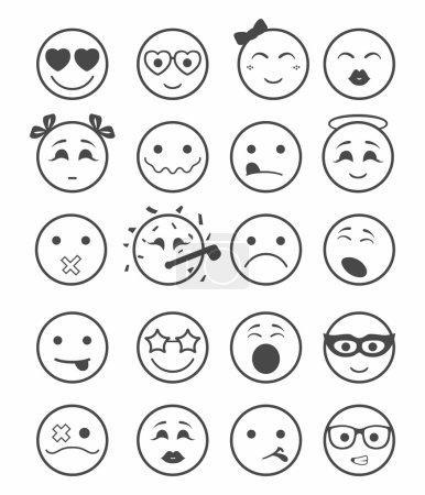 20 smiles icons set child black and white