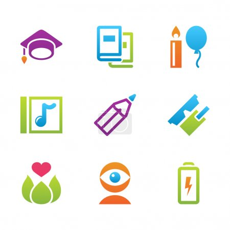 icon set education and science color