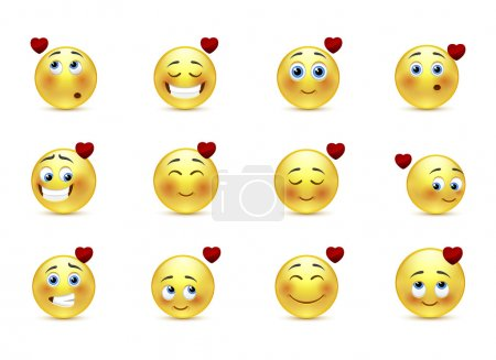Illustration for Set beauty valentine emoticons in love - Royalty Free Image