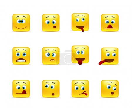 Illustration for Set of twelve square crazy smiley in yellow - Royalty Free Image