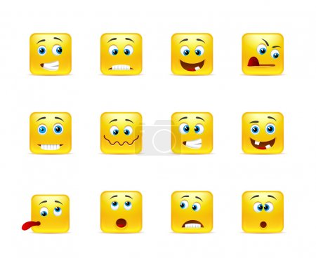 Illustration for Set of yellow smileys square of twelve pieces - Royalty Free Image