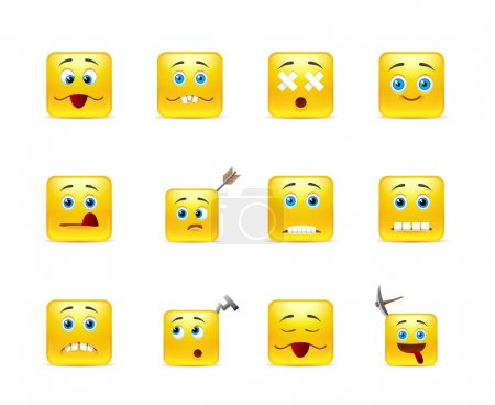 Illustration for Set of twelve square funny smiley in yellow - Royalty Free Image