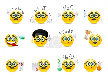 Illustration for Set of yellow round smiles on the topic of study. Smiley with glasses and other objects in the hands of - Royalty Free Image