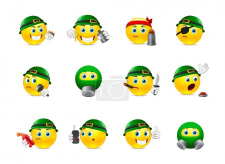 Illustration for Set of yellow round smiles on the theme of war. Smilies in camouflage and with a variety of weapons in the hands of - Royalty Free Image