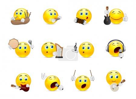 Illustration pour Ensemble de sourires jaunes qui jouent sur différents types d'instruments de musique - image libre de droit