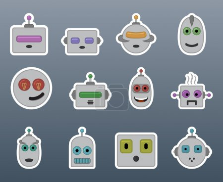 Illustration for Stickers gray robots in a small set of - Royalty Free Image
