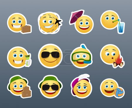 Illustration for Funny and cute emoticons travelers with different things - Royalty Free Image