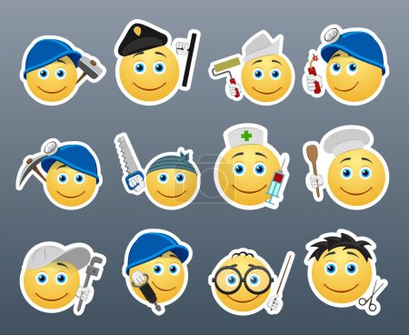 Photo pour Stickers souriants de différentes professions réunis dans un petit ensemble de - image libre de droit