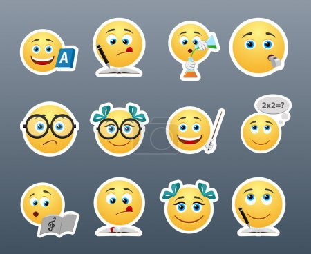 Illustration for Funny and cute emoticons students in the classroom - Royalty Free Image