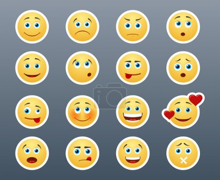 Illustration for Beautiful joyful and sad smiley yellow stickers in a small set of - Royalty Free Image