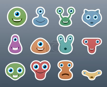 Illustration for A wonderful set of stickers aliens of different forms - Royalty Free Image