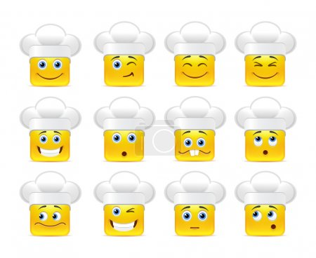 Illustration for Beautiful happy smiley yellow in white caps in a small set of - Royalty Free Image