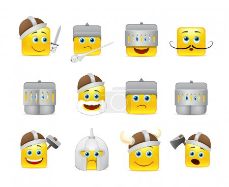 Illustration for Funny and cute emoticons Knights and Vikings yellow - Royalty Free Image