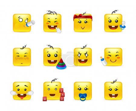 Illustration for Vector set of emoticons for anime square students - Royalty Free Image