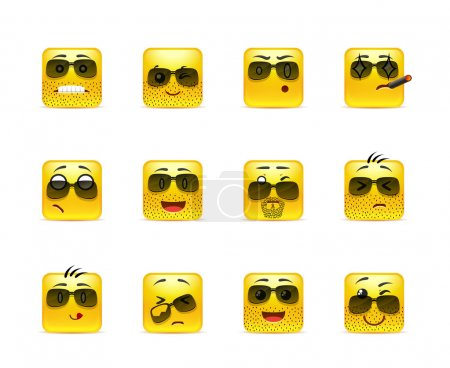Illustration for Set of twelve square smiley in anime yellow - Royalty Free Image